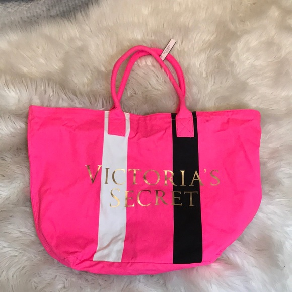 VICTORIAS SECRET PINK BEACH BAG TRAVEL TOTE SHOPPER NWT